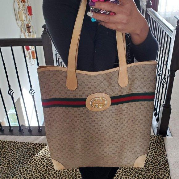Gucci Handbags - Authentic Vintage Gucci Tote Handbag Brown